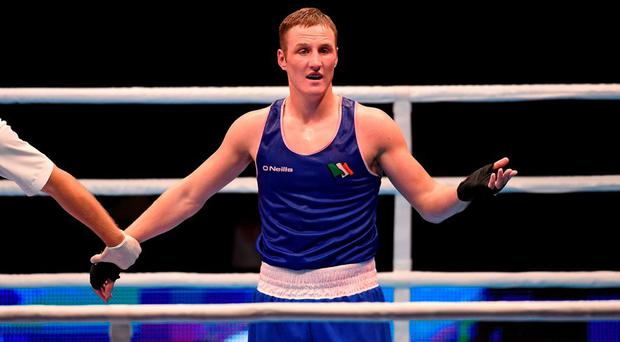 Michael O'Reilly was shocked by his defeat to Egypt's Hosam Abdin in their Men's Middleweight 75kg Box-Off bout at the AIBA World Boxing Championships in Doha, Qatar. Picture credit: Paul Mohan / SPORTSFILE