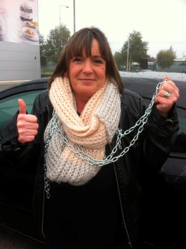 Debbie Byrne on her way to chain herself to the Department's offices Credit: Justice for Aaron