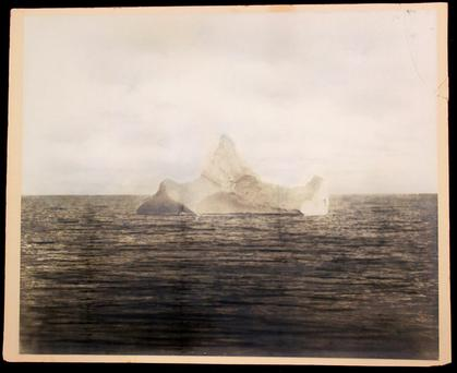 Photograph purporting to be of the iceberg that sank the Titanic is to go under the hammer Credit: Henry Aldridge & Son/PA Wire