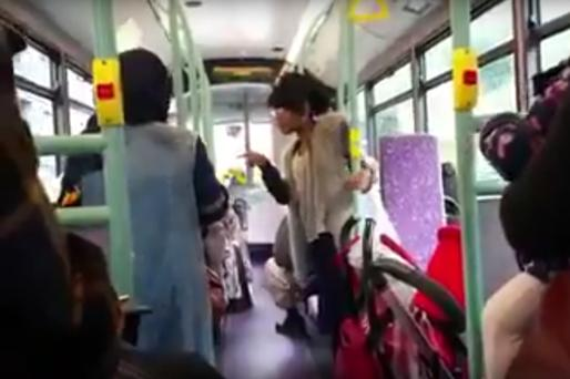 The incident took place on a London bus on Tuesday Credit: Youtube