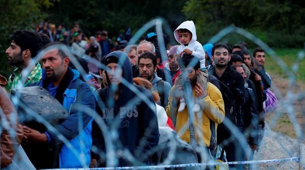 Migrants make their way after crossing the border at Zakany. Hungary said on Friday it would close its southern border with Croatia from midnight Credit: Laszlo Balogh