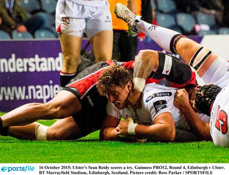 16 October 2015; Ulster's Sean Reidy scores a try. Guinness PRO12, Round 4, Edinburgh v Ulster. BT Murrayfield Stadium, Edinburgh, Scotland. Picture credit: Ross Parker / SPORTSFILE
