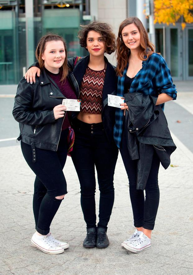 One Direction fans (L to r) Hollie Redmond from Palmerstown, Mayte McNamara from Lucan, Emily Colman from Lucan at the Point Theatre, Dublin