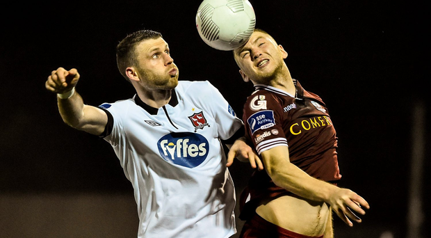 Ciaran Kilduff of Dundalk in action against Galway United's Stephen Walsh