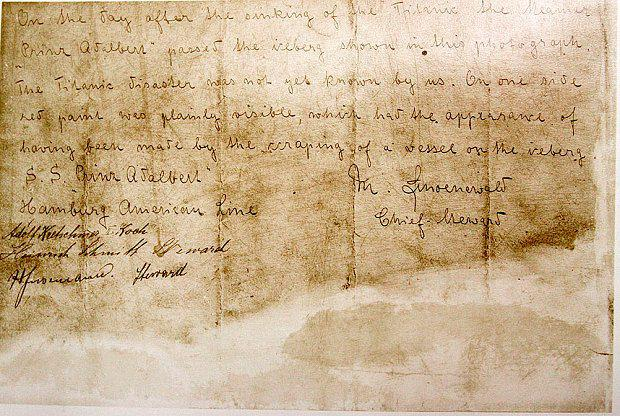 A hand-written statement describing the iceberg that sunk the Titanic