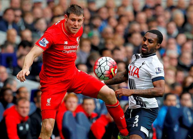 Liverpool's English midfielder James Milner (L) vies with Tottenham Hotspur's English defender Danny Rose during the English Premier League football match between Tottenham Hotspur and Liverpool at White Hart Lane in north London on October 17, 2015. AFP PHOTO / IAN KINGTON RESTRICTED TO EDITORIAL USE. No use with unauthorized audio, video, data, fixture lists, club/league logos or 'live' services. Online in-match use limited to 75 images, no video emulation. No use in betting, games or single club/league/player publications.IAN KINGTON/AFP/Getty Images