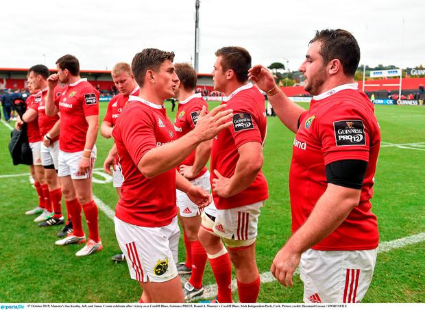 Munster's Ian Keatley, left, and James Cronin celebrate after victory over Cardiff Blues. Guinness PRO12, Round 4, Munster v Cardiff Blues. Irish Independent Park, Cork. Picture credit: Diarmuid Greene / SPORTSFILE