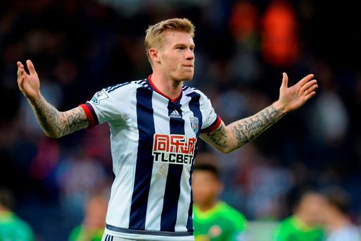 James McClean of West Bromwich Albion reacts during the Barclays Premier League match between West Bromwich Albion and Sunderland at The Hawthorns on October 17