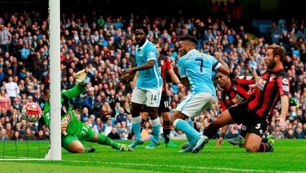 Football - Manchester City v AFC Bournemouth - Barclays Premier League - Etihad Stadium - 17/10/15 Manchester City's Raheem Sterling scores their first goal Action Images via Reuters / Jason Cairnduff Livepic EDITORIAL USE ONLY. No use with unauthorized audio, video, data, fixture lists, club/league logos or