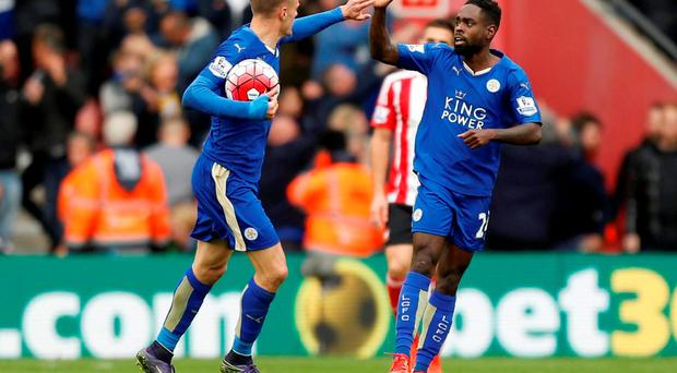 Leicester City's Jamie Vardy (left) celebrates scoring his sides first goal alongside teammate Nathan Dyer during the Barclays Premier League match at St Mary's, Southampton