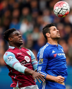 Chelsea's Diego Costa battles for control of the ball against Aston Villa's Micah Richards