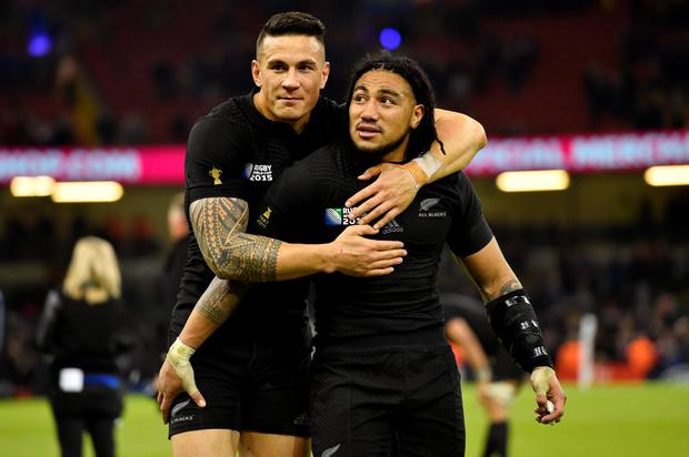 New Zealand's Sonny Bill Williams and Ma'a Nonu celebrate at the end of the match