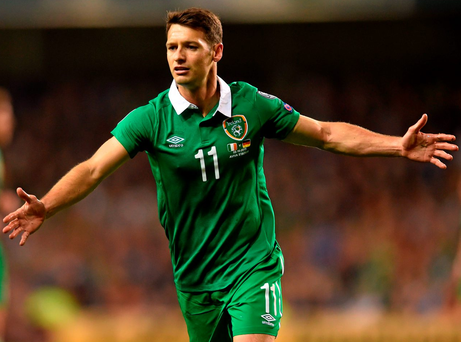8 October 2015; Republic of Ireland's Wes Hoolahan appeals a decision. UEFA EURO 2016 Championship Qualifier, Group D, Republic of Ireland v Germany. Aviva Stadium, Lansdowne Road, Dublin. Picture credit: Ramsey Cardy / SPORTSFILE