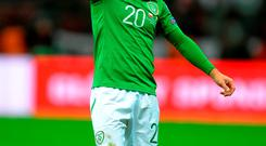 Republic of Ireland's Wes Hoolahan during the European Championship Qualifying match at the National Stadium, Warsaw, Poland. PRESS ASSOCIATION Photo. Picture date: Sunday October 11, 2015. See PA story SOCCER Poland. Photo credit should read: Tony Marshall/PA Wire. RESTRICTIONS: Editorial use only, No commercial use without prior permission, please contact PA Images for further information: Tel: +44 (0) 115 8447447.
