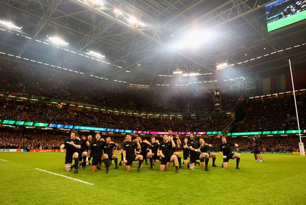 CARDIFF, WALES - OCTOBER 17: In this handout photograph provided by World Rugby, The New Zealand All Blacks perform The Haka during the 2015 Rugby World Cup Quarter Final match between New Zealand and France at the Millennium Stadium on October 17, 2015 in Cardiff, United Kingdom. (Photo by Richard Heathcote/Handout/World Rugby via Getty Images)