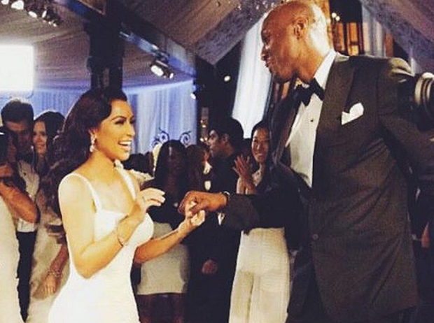 Kim shared an old photograph with Lamar on her Instagram account