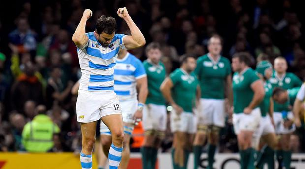 Argentina's Juan Martin Hernandez celebrates after the referee awarded them a try Reuters / Toby Melville Livepic