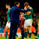 A dejected Jamie Heaslip of Ireland reacts after the 2015 Rugby World Cup Quarter Final match between Ireland and Argentina at Millennium Stadium on October 18, 2015 in Cardiff, United Kingdom. (Photo by Stu Forster/Getty Images)