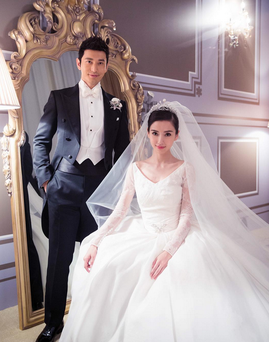Angelababy and her new husband. She wore a bespoke Dior gown on her wedding day, which was attended by 2,000 guests. Photo: Instagram @dior