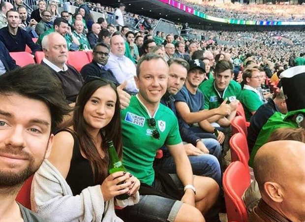 Niall pictured at the Ireland v Romania game earlier in the tournament.
