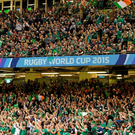 11 October 2015; Ireland supporters celebrate after the game. 2015 Rugby World Cup Pool D, Ireland v France. Millennium Stadium, Cardiff, Wales. Picture credit: Brendan Moran / SPORTSFILE
