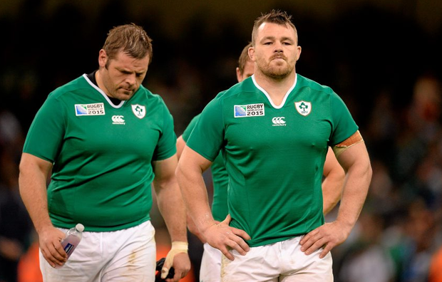 Ireland's Cian Healy, right, and Mike Ross after bowing out of World Cup