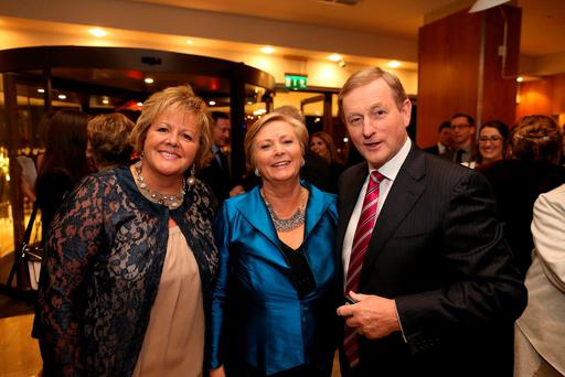 Taoiseach Enda Kenny with Justice Minister Frances Fitzgerald and Fionnuala Kenny at the 12th Fine Gael Presidental Dinner at the Double Tree by Hilton Hotel in Dublin at the weekend. Photo: Maxwells/Julien Behal