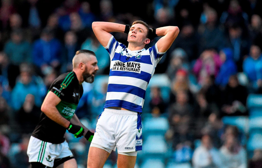 Castlehaven's Mark Collins reacts after missing a late chance to win the Cork SFC final against Nemo Rangers