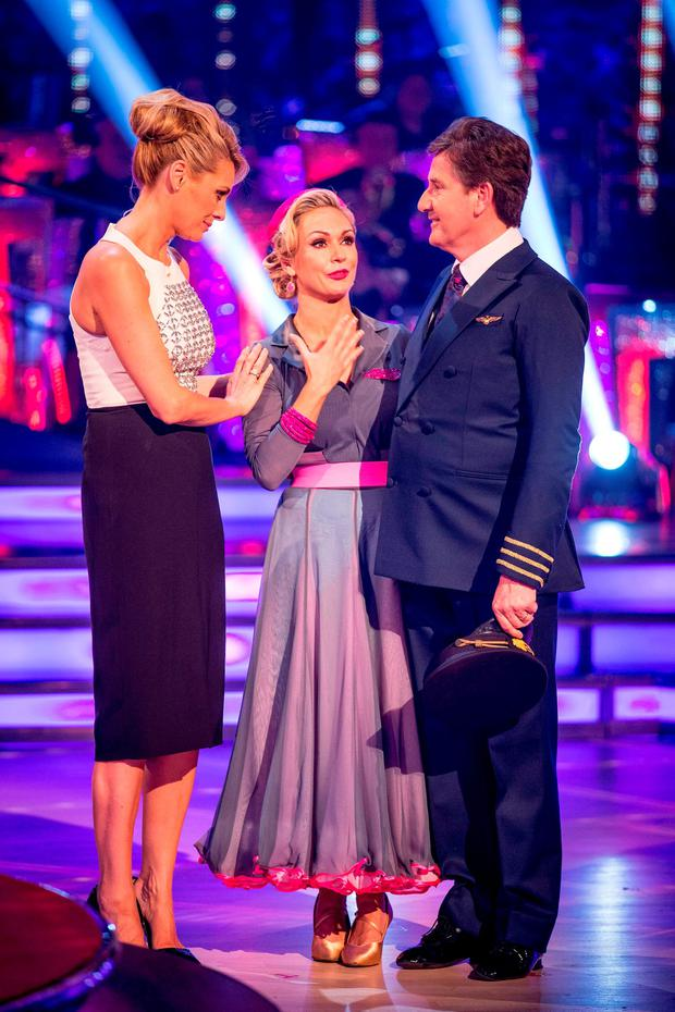 Daniel O'Donnell and Kristina Rihanoff (centre) with the show's host Tess Daly after the singer became the third celebrity to be voted off this year's 'Strictly Come Dancing'. Photo: Guy Levy