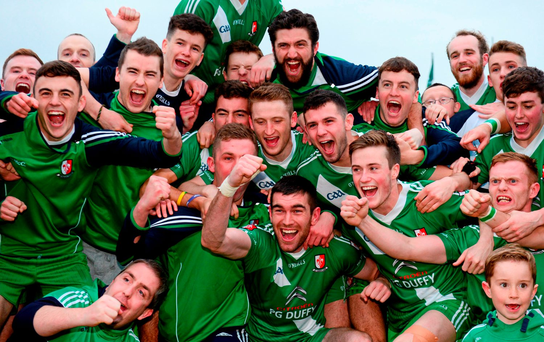 Sarsfields players celebrate after their late comeback completed a stunning victory over Athy