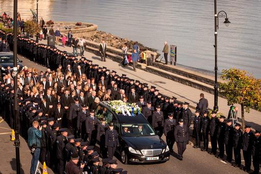 The funeral cortege of Garda Tony Golden in Blackrock, Co Louth, last week. Picture: Arthur Carron