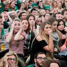 Fans pictured watching quarter-final clash between Ireland vs Argentina in the Rugby Village at the IFSC, Dublin. Pic Stephen Collins/Collins Photos