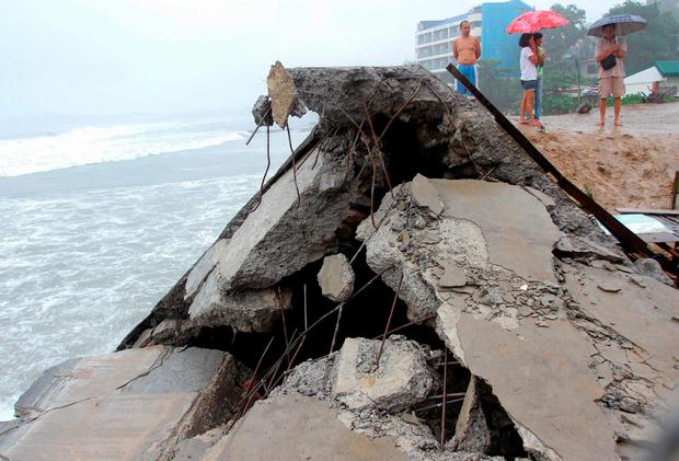 A seawall project that protects residents along the sea shore, is seen collapsed and destroyed by strong waves brought by typhoon Koppu, in Ilocanos Norte town, San Fernando city, La Union province, north of Manila October 19, 2015