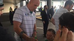 Paul O'Connell signs autographs at Dublin Airport