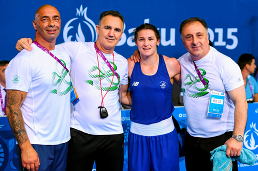 Katie Taylor, Ireland, with coaches, from left, Pete Taylor, Billy Walsh and Zaur Antia