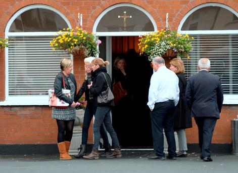 19 Oct 2015; General view of people arriving paying their respects to five of the Carrickmines victims at prayer service in the funeral home. Thomas Murphy & Sons Funeral Directors, Boghall road, Bray, Co. Wicklow. Picture: Caroline Quinn