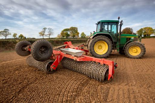 Paul Ramsbottom rolling after sowing winter wheat for Liam Wall at Ratheniska, Co. Laois. Photo: Alf Harvey/HRPhoto.ie