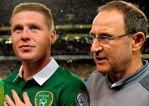 James McCarthy with Martin O'Neill after Ireland's victory over Germany at the Aviva Stadium