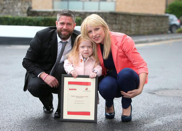 Ella Murphy O'Connor who received a 'Young Hero' award with her mum, Diane Murphy, and dad, Daniel O'Connor
