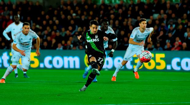 Bojan Krkic of Stoke City scores their first goal from the penalty spot during the Barclays Premier League match between Swansea City and Stoke City at Liberty Stadium on October 19, 2015 in Swansea, Wales. (Photo by Stu Forster/Getty Images)