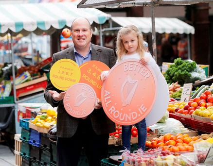 Ivan Yates and Darci Gormley (5), from Malahide, at the launch of Rounding in Ireland