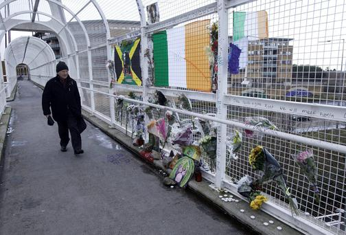 The footbridge on St Dominic's Road, where Dale Creighton was assaulted in Tallaght, Dublin. Photo: Collins