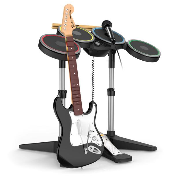Rock Band 4: The full instrument set of guitar, drums and microphone will set you back €300 with a copy of the game