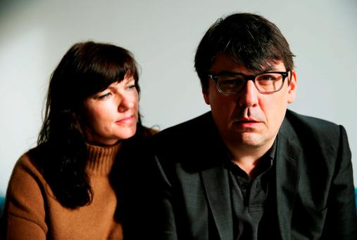 Graham Linehan, writer of the Father Ted comedy series, alongside his wife Helen, at an Amnesty International event in Belfast