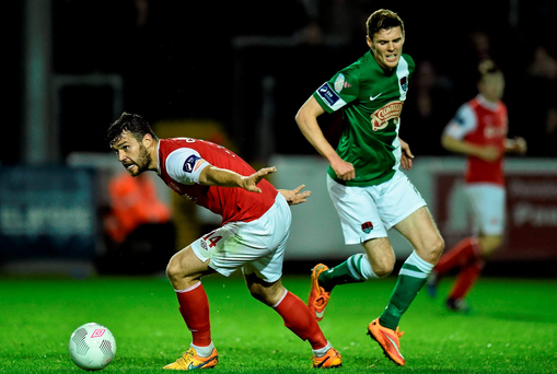 James Chambers, St Patrick's Athletic, in action against Garry Buckley, Cork City