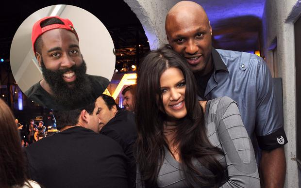 Khloe Kardashian and Lamar Odom and (inset) is James Harden