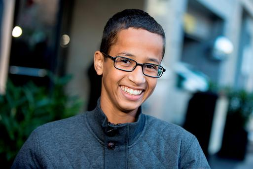 Ahmed Mohamed, the 14-year-old who was arrested at MacArthur High School in Irving, Texas for allegedly bringing a hoax bomb to school, speaks during an interview with the Associated Press. (AP Photo/Andrew Harnik)