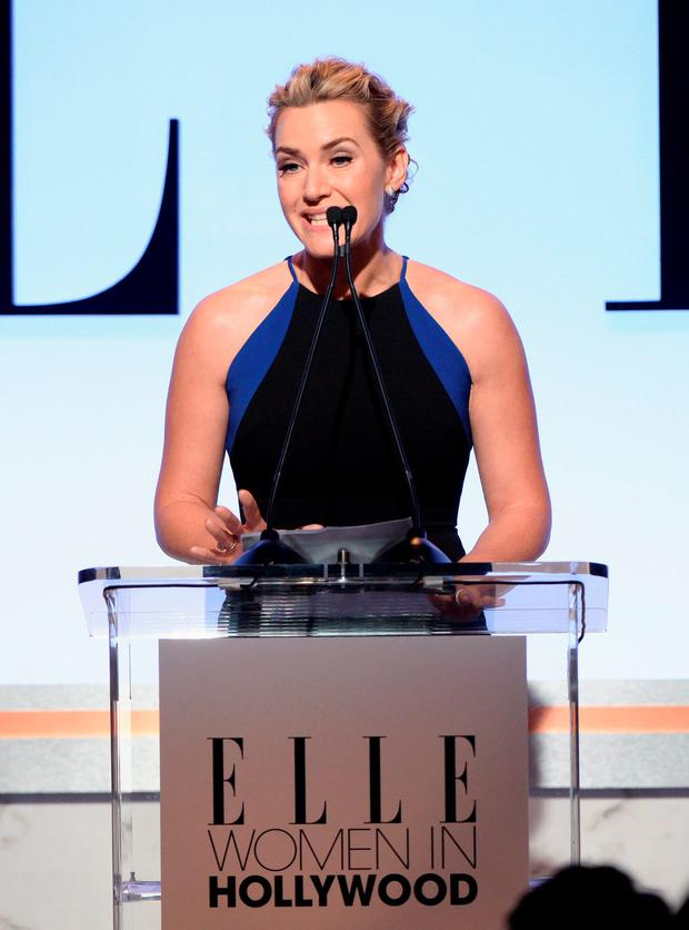 Honoree Kate Winslet speaks onstage during the 22nd Annual ELLE Women in Hollywood Awards at Four Seasons Hotel Los Angeles at Beverly Hills on October 19, 2015 in Los Angeles, California. (Photo by Michael Kovac/Getty Images)