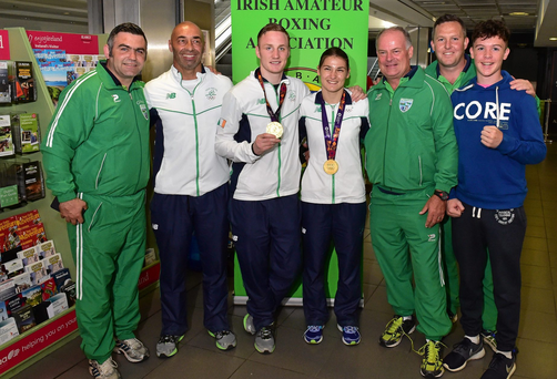 Pat Ryan, third from right, part of Team Ireland at the recent European Championships in Baku. Men's Boxing Middle 75kg gold, and Katie Taylor, centre, Women's Boxing Light 60kg gold, pictured with their coaching team, from left, Eugene Lacumber, Pete Taylor, Pat Ryan, Liam Brophy and Dean Brophy on their return from the 2015 Baku European Games. Terminal One, Dublin Airport.