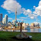 Ireland Park on the shores of Lake Ontario in Toronto, whose tragic famine figures depict the flight across the Atlantic